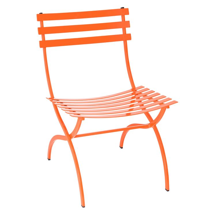 This contemporary outdoor chair is an airy yet sturdy bistro-style outdoor dining chair. This modern patio dining chair has a powder coated iron frame and slats that are incredibly sturdy. The Journal outdoor dining side chair by Stori Modern measures 32.5 in. (h) x 21 in. (w) x 27.5 in. (d) and available colors include black, white, orange, yellow, mint, and sky. Finish samples are available.