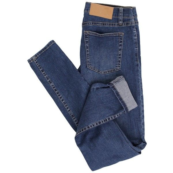 Cheap Monday Slim Credit Mid Blue Vaqueros (€5) ❤ liked on Polyvore featuring pants, jeans, bottoms, trousers, slim fit pants, slim pants, slim trousers, blue pants and blue trousers