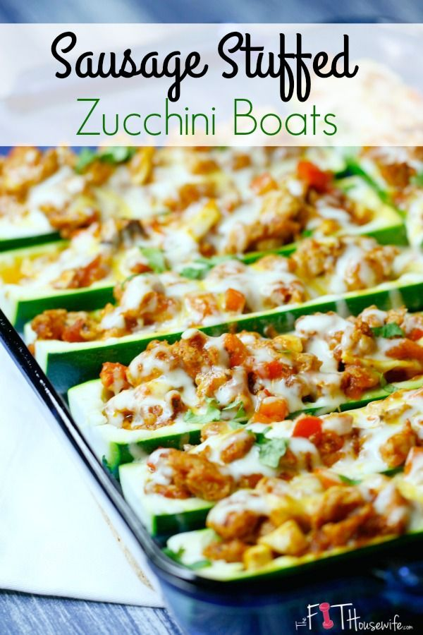 Healthy Sausage Stuffed Zucchini Boats | The perfect recipe for dinner. Low carb and delicious! @TheFitHousewife (Bake Squash Stuffed)