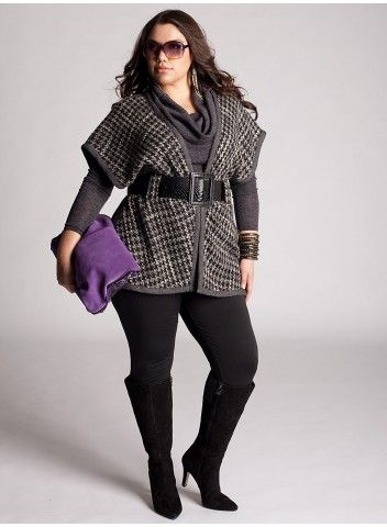 great outfit w/ wool black/white wrap with belt