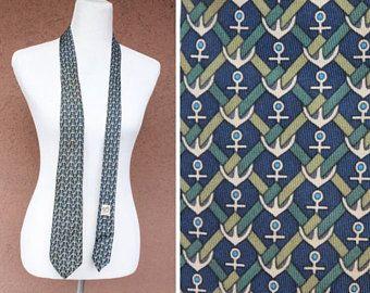 1980's Hermes Blue Silk Tie - 80's Hermes Navy Motif Tie