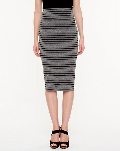 Le Château: Stripe Jersey Knit Pencil Skirt - 29.99