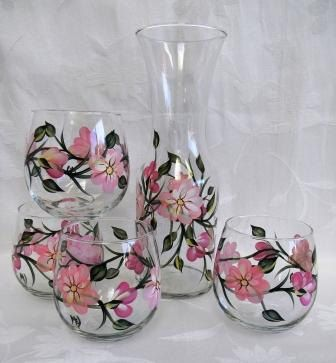Beautiful Wine decanter set in pink floral by Morningglories1 at Etsy