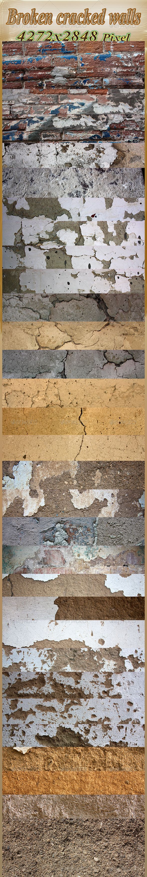 Broken Old Walls, Cracked and Broken  #GraphicRiver         Set of 32 Broken, Cracked walls textures.  	 The textures are 4272×2848  	 The textures have been shot in plain day light for better detail capture and focus of the subject.     Created: 16October12 GraphicsFilesIncluded: JPGImage Layered: No MinimumAdobeCSVersion: CS PixelDimensions: 4272x2848 Tileable: No Tags: brick #clay #crack #cracked #dirt #earth #grey #grime #grunge #macro #noise #paint #rift #rough #sand #sawdust #spray…