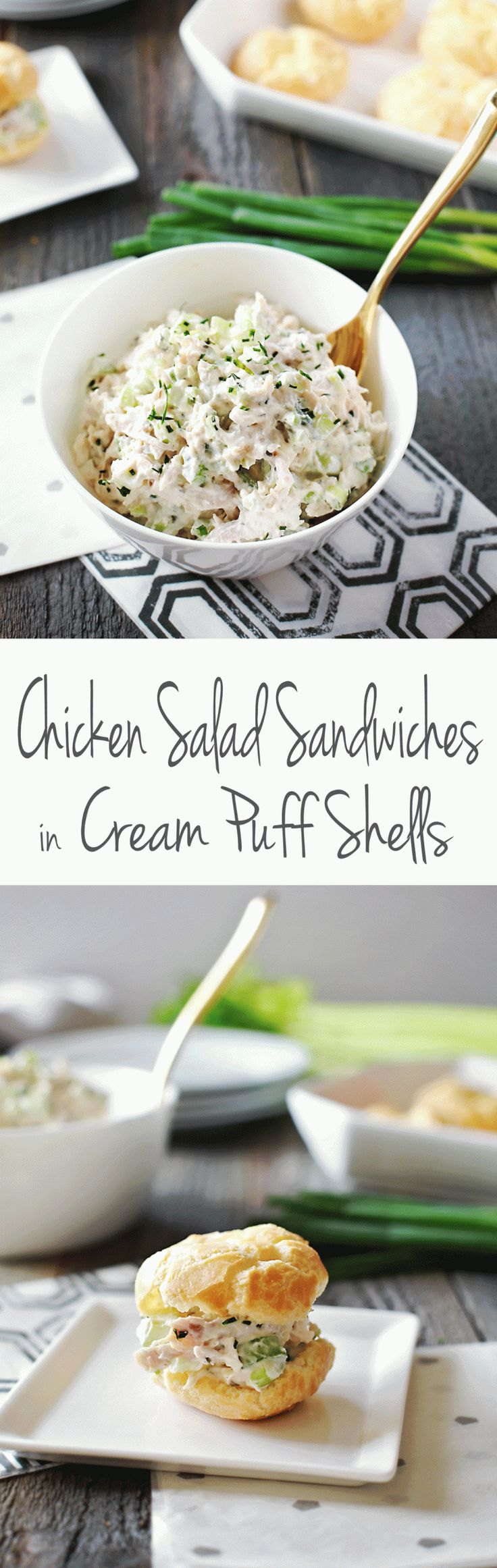 Delicious Chicken Salad Sandwiches served in cream puff shells that are super easy to make and are freezable. Amazing recipe by Flirting with Flavor.