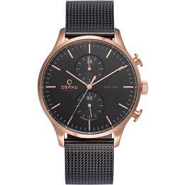 OBAKU Gran - night / rose gold and black stainless steel men's multifunction watch