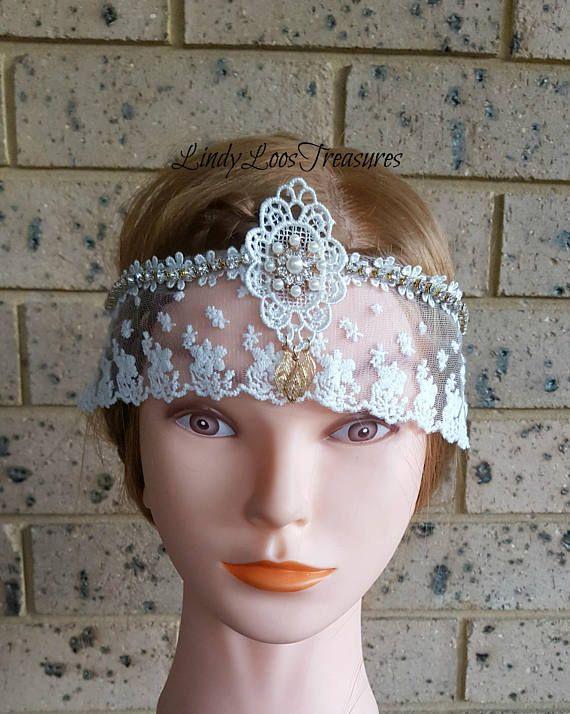 Vintage 20's Gatsby Style Lace Bridal Headband Headpiece