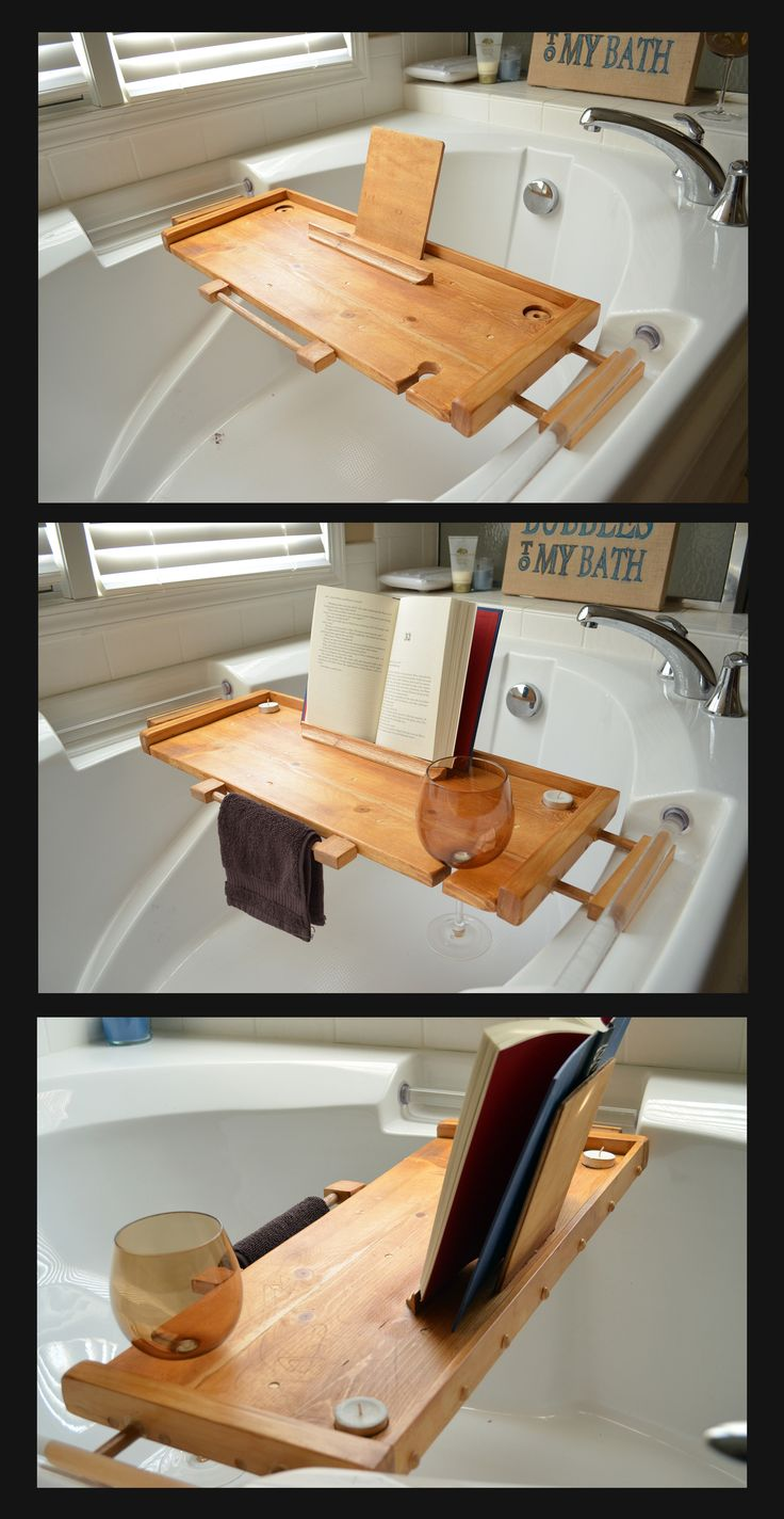 Bathtub Caddy I Made for My Wife.   (It has a hand towel holder, candle holders, wine glass spot and a place to keep your book propped up)