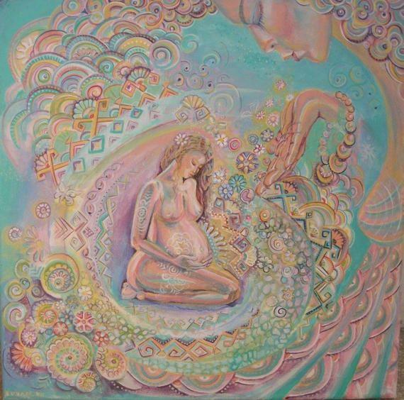 Dolce attesa ritratto Donna dipinto donna incinta di Stellangelo