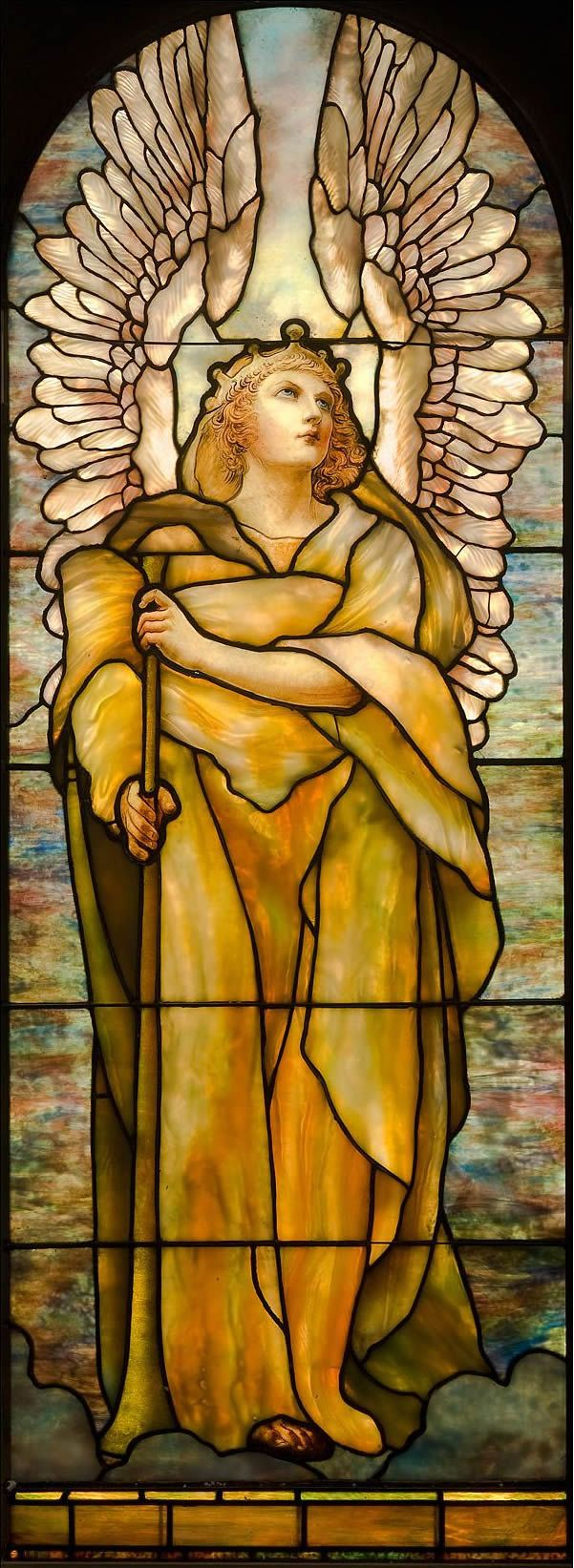"""The Angel of the Resurrection"" window, designed by Frederick Wilson in 1904-5, was installed at the American Presbyterian Church in Montreal."