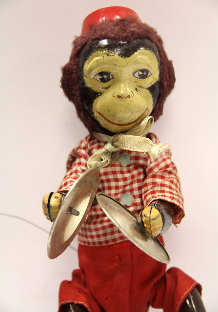 ANTIQUE 1930s Tin Toy Monkey with Cymbals by BroadwayTreasureHunt