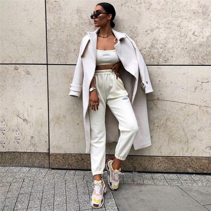 Hugcitar high waist casual loose cargo pants 2019 autumn winter women fashion streetwear trousers – Beige 1 L