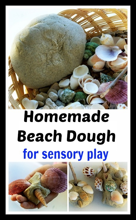 Recipe for homemade sandy beach dough for sensory play. Make creatures and enjoy exploring the texture. Creative play and fine motor play for preschoolers while they make creatures using natural supplies.