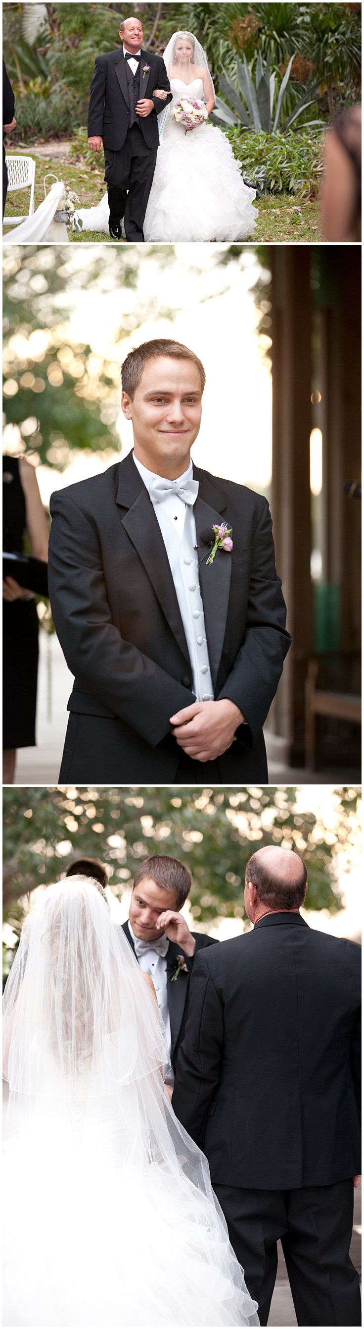 Groom's reaction as bride comes down the aisle with her father. Bride and groom crying as she walks down the aisle. Elegant, fall wedding at Marie Selby Botanical Gardens in Sarasota, Florida. © Degrees North Images #groom