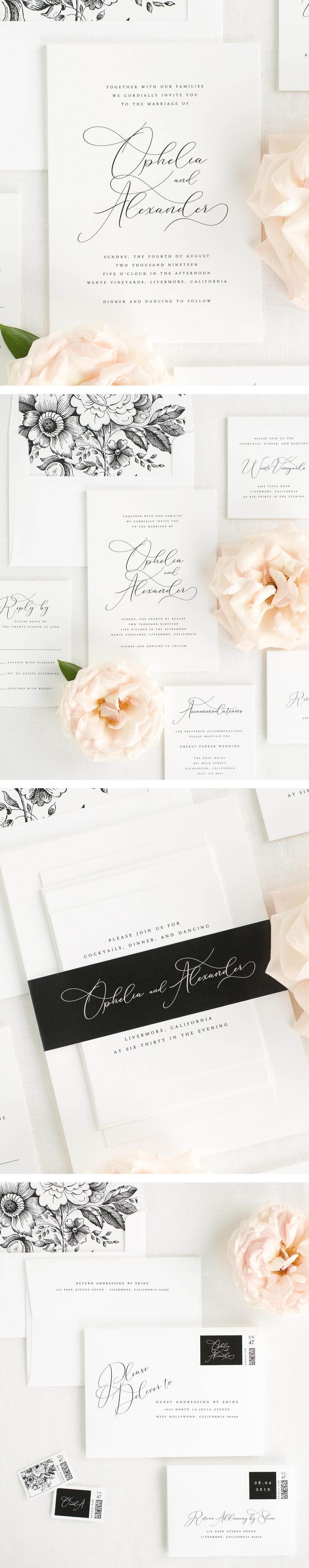 what to charge for wedding invitations%0A A delicate calligraphyinspired font adds a touch of drama to these elegant wedding  invitations