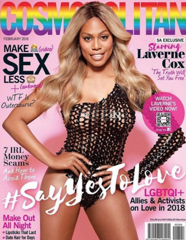 Braless Laverne Cox stuns in completely see-through leotard   The Orange Is The New Black actress is making history as the face of Cosmopolitan South Africas #SayYesToLove issue.  The 45-year-old became a Cosmo cover girl as she posed sporting a revealing off-the-shoulder bodysuit which was completely see-through.  Standing with her hands on her hips the starlet looked absolutely sensational flashing more than just a grin at the camera.  Lavernes long blonde locks were styled into loose…
