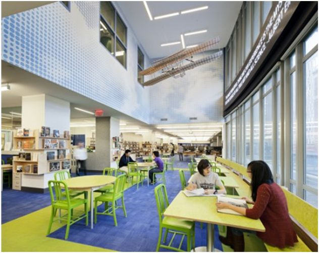 Stuyvesant High School in New York, NY uses LibGuides.  It is an attractive, user-friendly, current library home for students and faculty.  It provides excellent links to digital presentation tools, GALE subject databases, and guides for a variety of research areas.