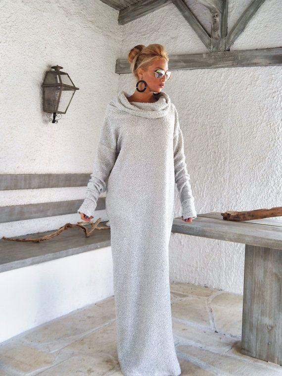 Off White Winter Wool Boucle Turtleneck Maxi by SynthiaCouture