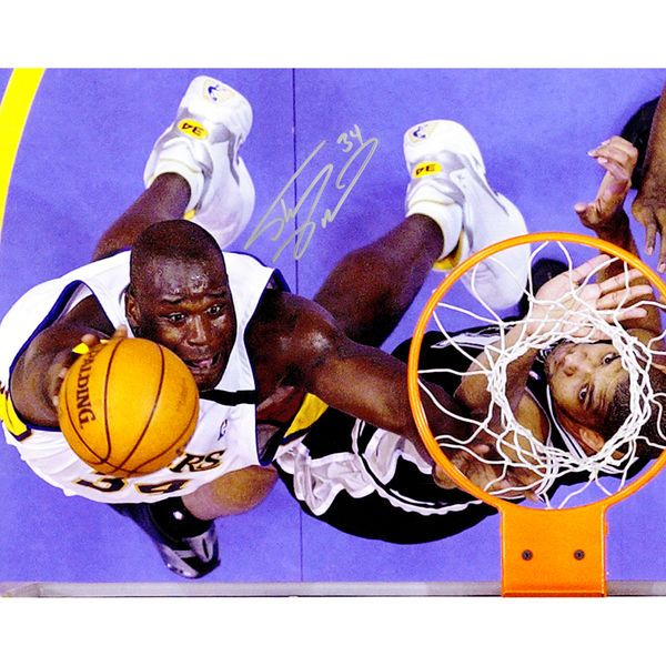 """Shaquille O'Neal Los Angeles Lakers Fanatics Authentic Autographed 16"""" x 20"""" Lay-Up Vs. Duncan Photograph - $249.99"""