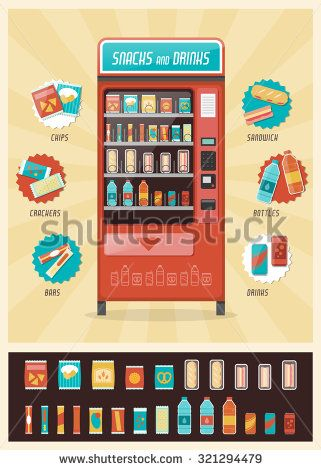 Vintage vending machine advertisement poster with snacks and drinks packaging set - stock vector