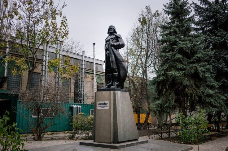When a Lenin Statue Is Decapitated, Where Does the Head Go? | Artist Alexander Milov transformed this Lenin statue into Darth Vader outside an Odessa factory.  | Credit: Niels Ackermann/ Lundi13 | From Wired.com