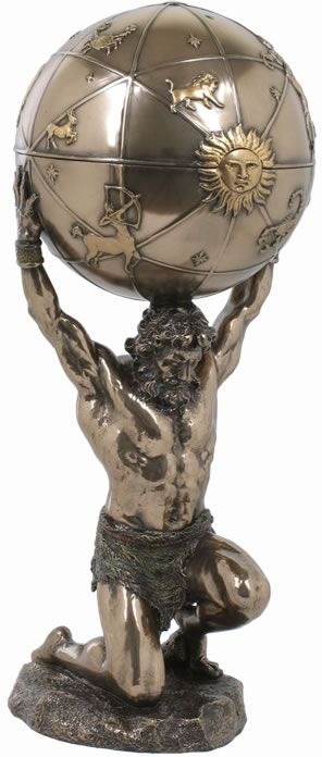 Atlas Holding Globe Trinket Box available at AllSculptures.com