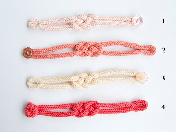 "French knitted cotton bracelet - ""Peach and Raspberry"" by LaMauvaiseGraine"