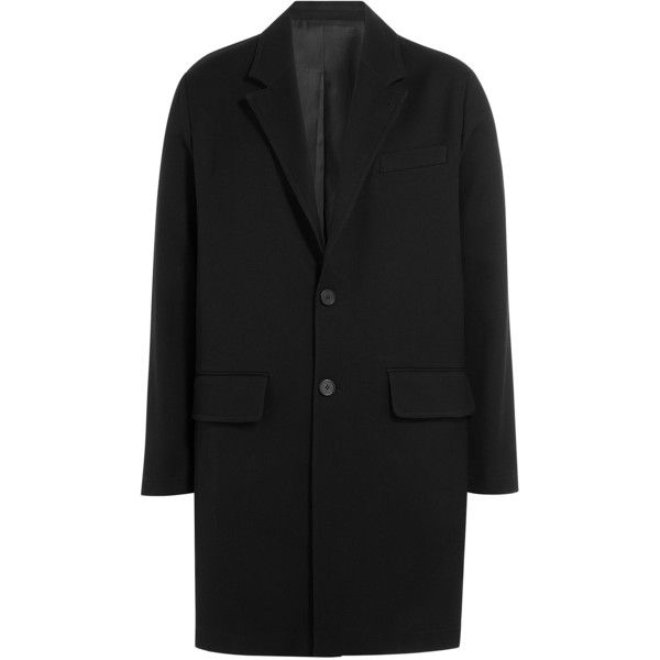 AMI Alexandre Mattiussi Cotton Twill Coat (62.095 RUB) ❤ liked on Polyvore featuring men's fashion, men's clothing, men's outerwear, men's coats and black