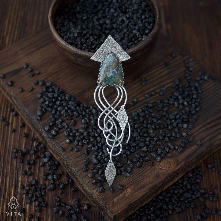Кракен - кулон серебро с яшмой