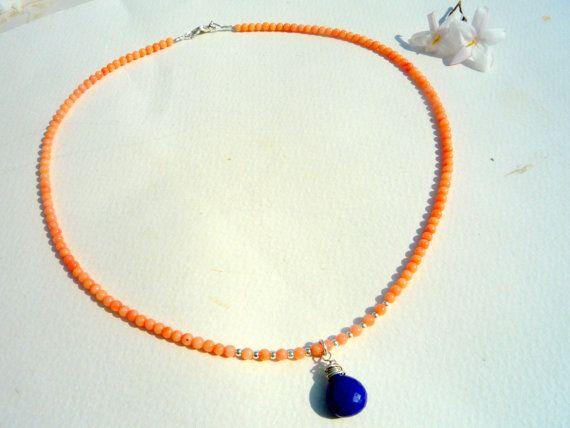 Coral Lapis Lazuli gemstone necklace. Fine dainty by Iridonousa