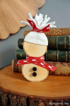 DIY Wood Slice Snowman - easy Christmas craft