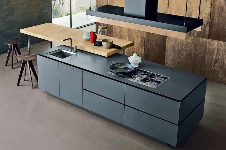 Varenna by Poliform's Artex kitchen marries minimalist lines with modular innovation. The system, pictured in matte-gray laminate, is sold in additional hues and materials; price upon request.
