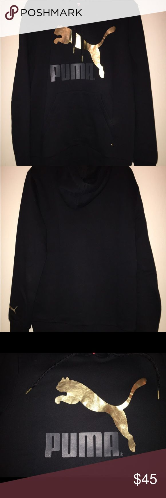 Men's Puma Black And Gold Hoodie New with out tags Men's Puma Black And Gold Hoodie size M with pocket. Puma Sweaters