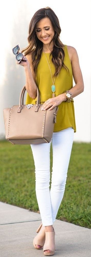 Mustard Tiered Tank Top,  Rockstud Medium Tote, Platform Sandals, Platform sandals, Stretch Skinny Jeans, Celine Sunglasses | Casual Spring Style