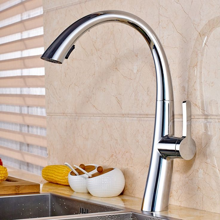 $90.99 | Buy Good Quality Pull Out Spring Kitchen Faucet Brushed Nickel  Bathroom Vessel Sink Mixer