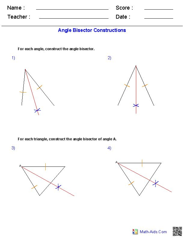 Exterior Math: Angle Bisectors Constructions Worksheets