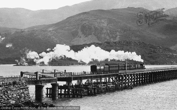 Barmouth, Train Crossing The Railway Bridge 1896, from Francis Frith