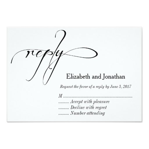 Black and White Calligraphy Wedding Reply Card