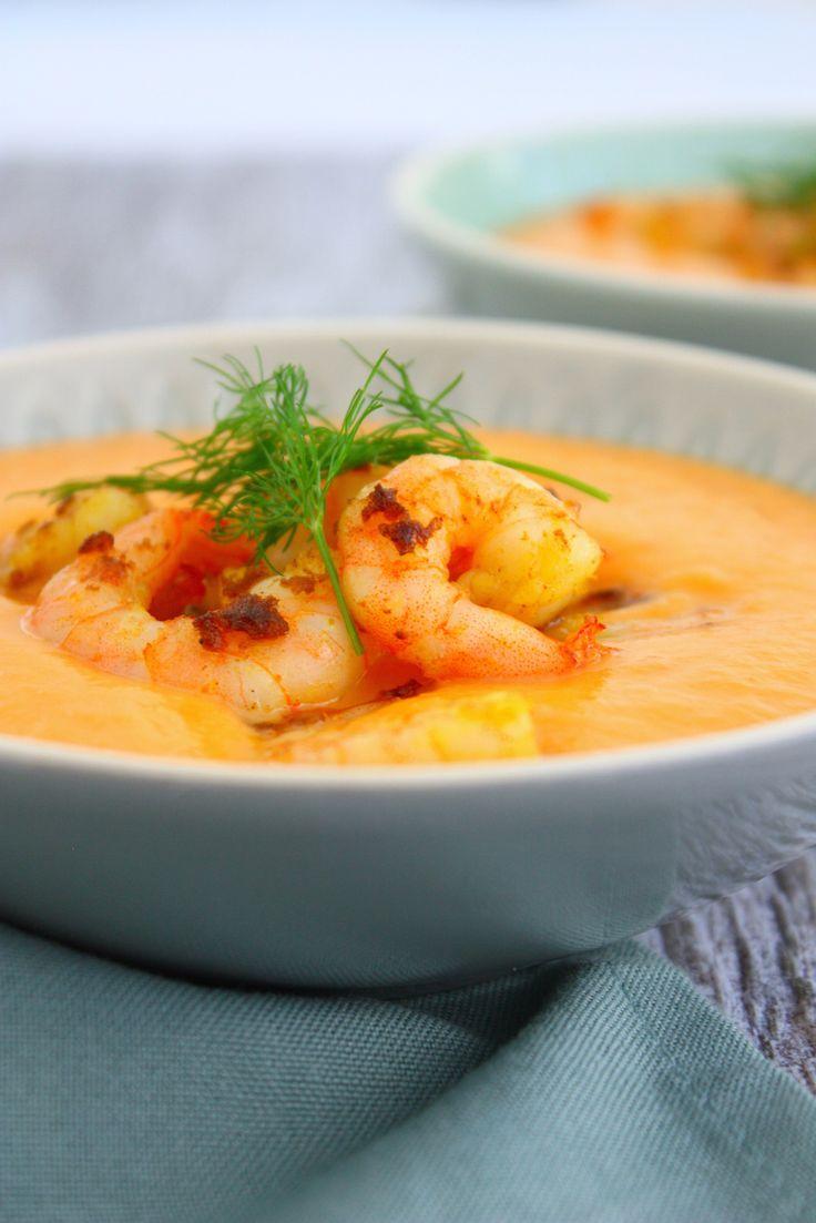 Pittige zoete aardappel soep met gamba's // Francesca Kookt