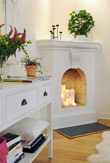 belle maison: Interior Styling: Faux Fireplace...there's something about this fireplace I kind of like
