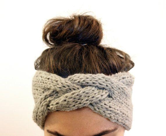 braided headband in smoke grey, hand knit from Peruvian Highland sheep's wool