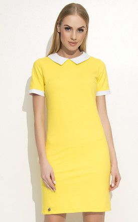 Yellow Mini Dress With Contrasting White Collar