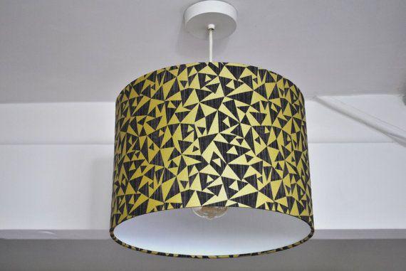 Black and Gold Metallic Geometric Drum Lampshade by RukuLampshades
