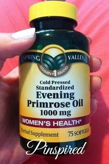 """Another pinner said: Every woman should be taking -- Evening Primrose Oil. Great Anti-Aging supplement. Will see major improvement in skin tightening and preventing wrinkles. Helps with hormonal acne, PMS, weight control, chronic headaches, menopause, endometriosis, joint pain, diabetes, eczema, MS, infertility, hair, nails, and scalp."""