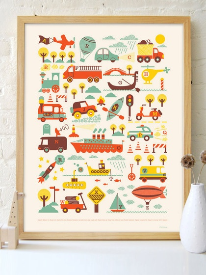 "2. Posters by Petit Collage – ""Children love an adventure and this darling ABC poster by Petit Collage captures your imagination in a sweet and subtle way."""
