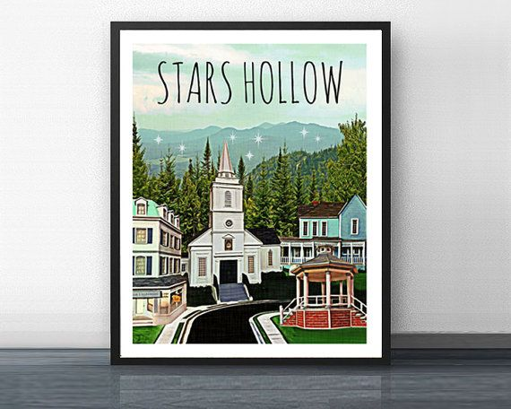 STARS HOLLOW - gilmore girls - art print - rory - stars hollow - coffee - dragonfly - connecticut - mother - daughter - diner - lorelai $15