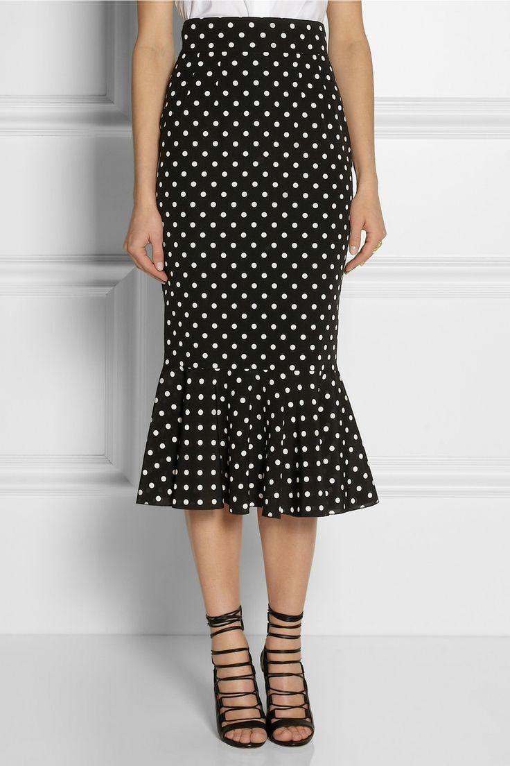 Dolce & Gabbana Polka-dot stretch-silk pencil skirt