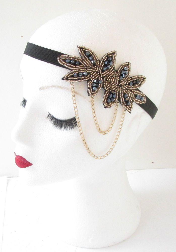 Gold & Black Beaded Chain Headpiece Vtg 1920s Headband Flapper Great Gatsby L59
