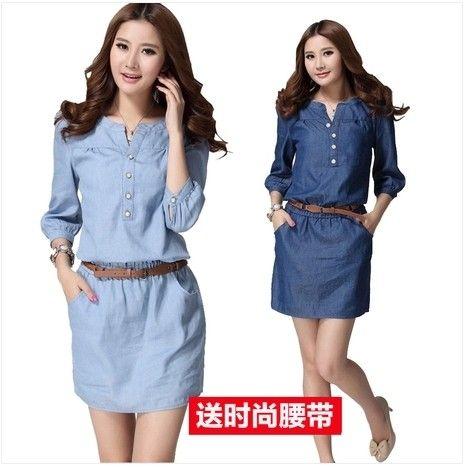 Online Shop 2015 verano mujer tres del cuarto más tamaño vestido de mezclilla azul, Maxi tamaño Casual vestidos sml XL 2XL 3XL 4XL Aliexpress Mobile