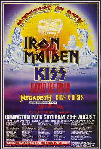 Donington Monsters of Rock Festival 1988. I was there. First UK show for GnR. Things went horribly wrong during their set when crowd went crazy and two people were crushed to death ahead of me. :) Terrifying.